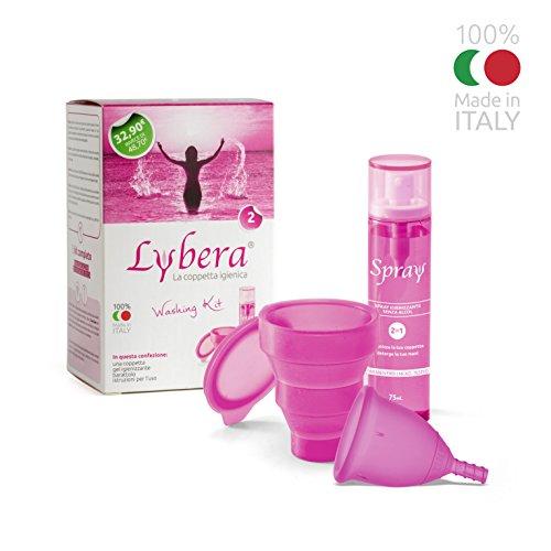 Lybera Coppetta Mestruale Fucsia + Kit Igienizzante | Silicone Medicale | MADE IN ITALY | Washing Kit Taglia 2
