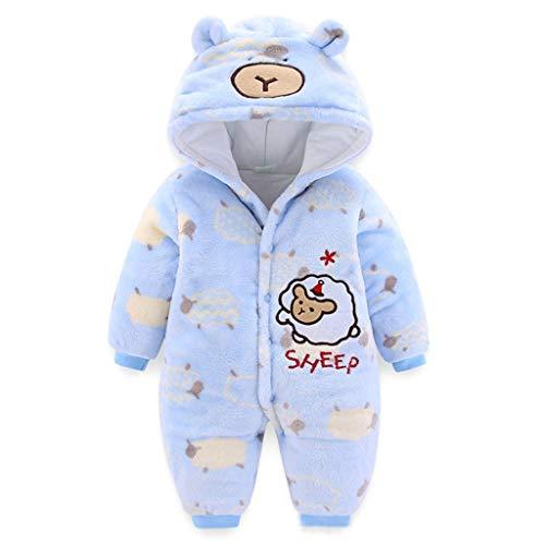 Baby Kapuze Strampler Flanell Winter Overall SäUgling Jungen MäDchen Schaf Karikatur Schlafanzug Outfits (Blau, 73)