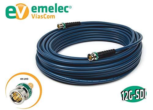 Emelec VíasCom EQ 153500A - Conexión vídeo 4K 12G-SDI con BNC 0.8/3.75 (conductor unifilar, 50 m) color azul