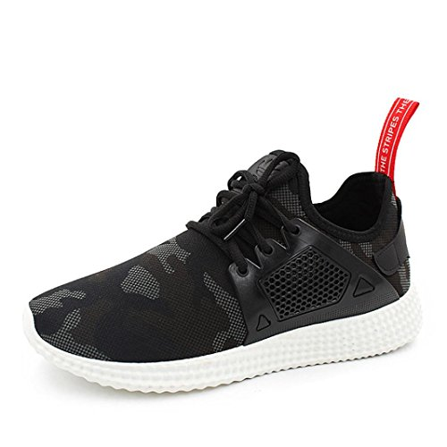 Herren Laufschuhe, FNKDOR Camouflage Sport Schuhe Fitnessschuhe Sneakers Running (41, (Schwarz Schuhe Flor)