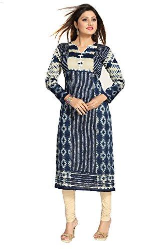 ALC Creations Women's Cotton A-Line Kurti(ALC2096NAVY_Blue_3XL)