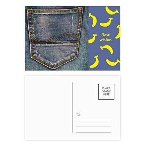 DIYthinker Tasche Denim-Jean-Cowboy Futter Textil Banana Postkartenset dankt Karte Mailing Side 20pcs 5.7 Zoll x 3.8 Zoll Mehrfarbig - Paper Denim Tuch
