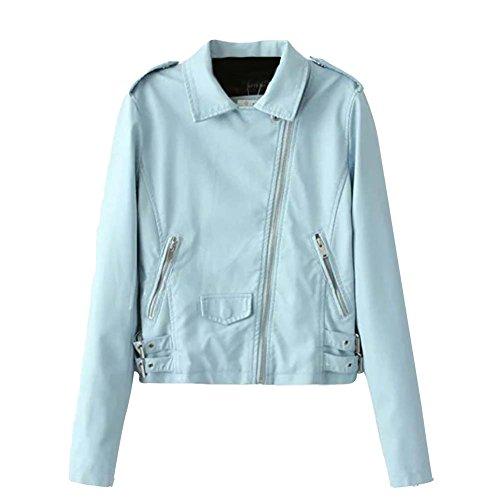 Veste Biker Manteau Pour Femme Manche Longue Blousons Bleu