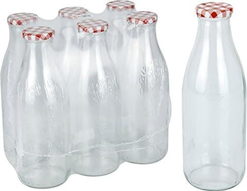 Lot de 6bouteilles de lait en verre avec couvercle Rouge 1litre vintage Verre Bouteille de lait