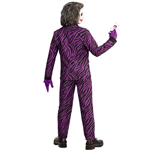 Amakando Bösewicht Halloweenkostüm - 158, 11 - 13 Jahre - Schurke Karnevalskostüm Jungen Böser Clown Verkleidung Kinderkostüm Halloween Horrorkostüm Joker Kinder Kostüm