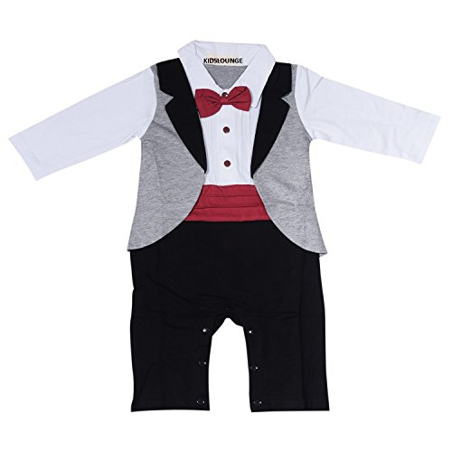 Kidslounge Baby Boy long sleeve grey romper with red waistband and bow gentleman party jumpsuit (6-12)