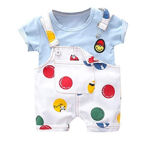 i-uend 2 STÜCKE Kleinkind Baby Kleidung Anzug Neugeborenen Jungen Mädchen Sommer Outfits Infant Baby Lächeln Gesicht Drucken T-Shirt Träger Shorts Set Für 0-3 - Halloween Zwei-gesicht Anzug