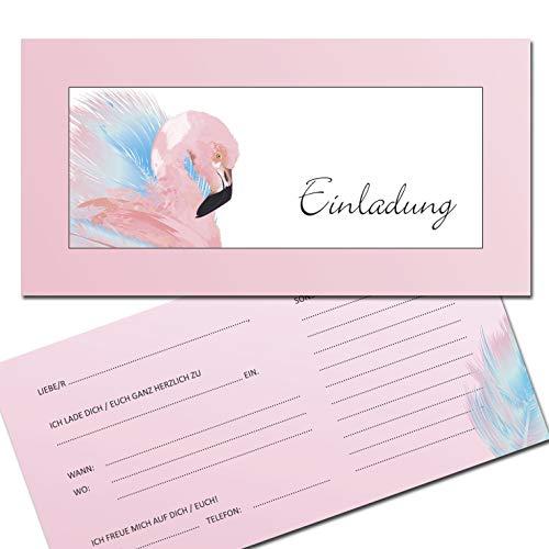 KREATIVES HERZ - Flamingo Einladungskarten zum Geburtstag oder zur Einschulung 10er Set Einladungen Schulanfang Karten 1.Schultag Kinder Schüler Mädchen und Jungen Party