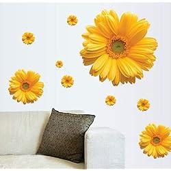CTM 1 Unidades Flores Amarillas Decoración Decorativa DIY Etiqueta de La Pared Decoración Crisantemo Margarita Hogar Dormitorio Tatuajes de Pared