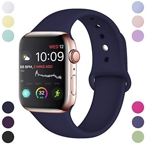 Hamile Armband Kompatibel für Apple Watch 38mm 40mm, Weiche Silikon Wasserdicht Ersatz Uhrenarmbänder für Apple Watch Series 5, Series 4, Series 3, Series 2, Series 1, S/M Dunkel Blau