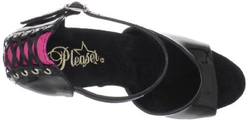 Pleaser PleaserDelight-660Fh - Scarpe con Tacco Donna Nero (Black-H. Pink Pat/Black)