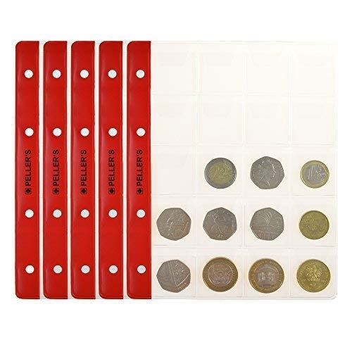 PELLER'S Hojas 20 compartimentos monedas: 35mm X 40mm