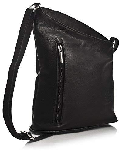 ine Damen Cross-Body-Umhängetasche aus echtem, weichem, italienischem Venenzi Leder (V114 Black) ()