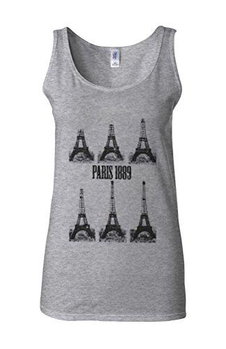 Paris Eiffel Tower 1889 Construction Novelty White Femme Women Tricot de Corps Tank Top Vest Gris Sportif