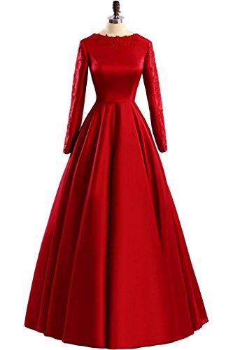 Promgirl House Damen Hochwertig Satin Spitze Prinzessin A-Linie Abendkleider Ballkleider Lang mit Aermel Rot
