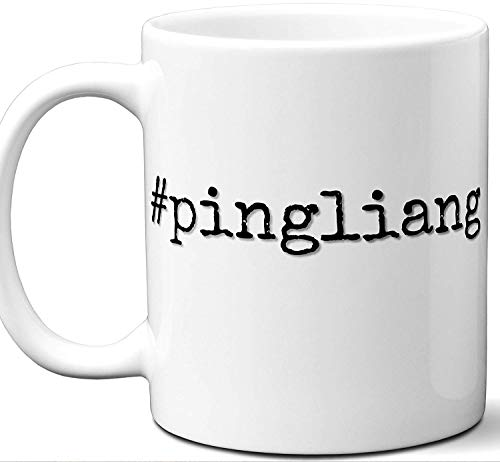#pingliang Gift Hashtag Mug. Cool, Hip, Unique Pingliang, China City Hash Tag Themed Tea Cup Men Women Fan Lover Birthday Mothers Day Fathers Day Christmas Coworker.