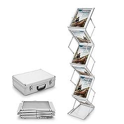Voilamart Prospektständer 6x Din A4 Hochformat Faltbar Zusammenklappbar Broschüre Literatur Bodenständer – Silber Im Koffer Aluminiumacrylglas