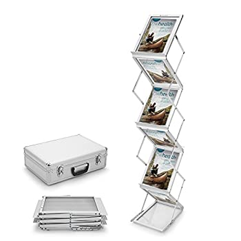Voilamart A4 Exhibition Stand, 6-section Display Stand Double Sided Shelves Folding Floor Display Stand Portable Magazine Brochure Literature Leaflet Holder Catalogue Reference Racks For Exhibition Trade Show Showroom Reception With Carry Case, Silver 148x35 X27cm 7