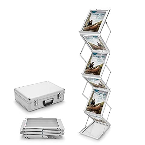 Voilamart A4 Exhibition Stand, 6-Section Display Stand Double Sided Shelves