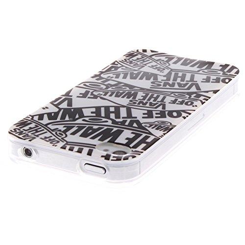 Pour Apple iPhone 4/4S Cas, MCHSHOP Ultra-mince TPU Silicone Cover souple Phone Housse Coque de protection pour iPhone 4/4S - 1 gratuit Touch Pen (Wind Chime Attrape Rêve 3) Lettres de Cartoon