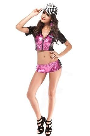 2 PCS sexy Passion Racing Fille de strip-teaseuse-Set Costume noir rose Racing uniforme