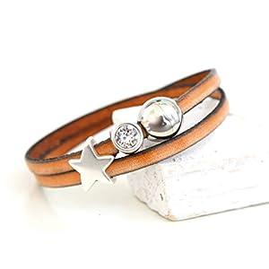 Armband aus Leder Wickelarmband handmade vintage hell braun cognac mit Schmucksteinen Strass und Stern silber