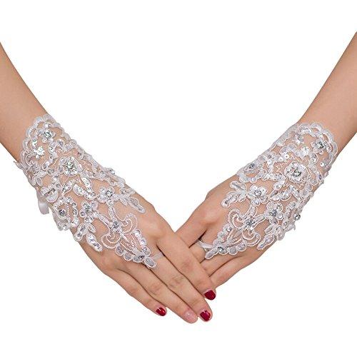 Qingsun Braut Handschuhe Hochzeits Handschuhe Spitze mit Künstlicher Diamant Kurzer Abschnitt (1 Paar)