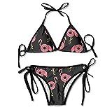 Comic Doughnut Flamingo Women's Tie Side Bottom Bikini Suits Two Pieces Swimwear
