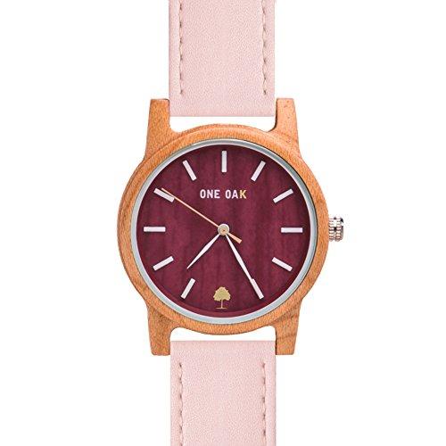 ONE OAK - Komorebi Rosée | Reloj de Madera Unisex Ambientalmente Sostenible | Esfera de Madera de Arce y Correa de Piel Rosa