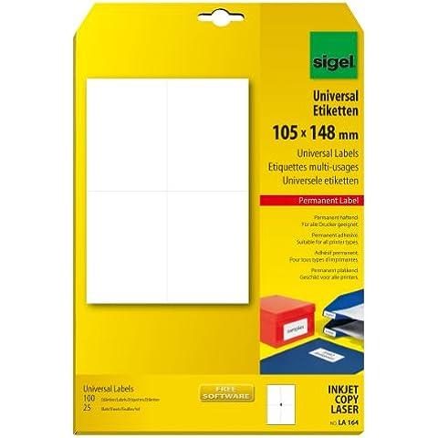 Sigel LA164 - Etiquetas universales, 100 unidades en 25 hojas, 105 x 148 mm (A4)