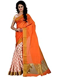Trendz Style Women's Mysore Silk Half & Half Hand Printed Saree With Blouse(TZ_1177_A)
