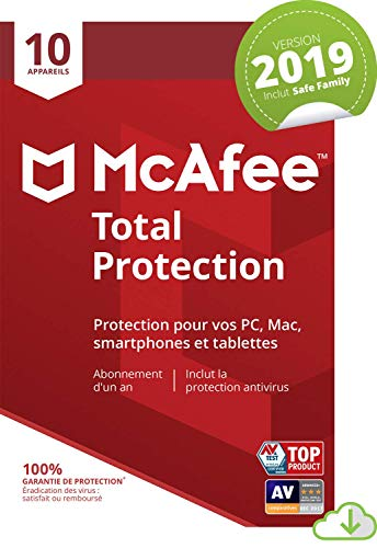 McAfee Total Protection 2019 | 10 Appareils | 1an d'abonnement | PC/Mac/Android/Smartphones [Download Code]