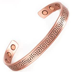 Copper Magnetic Bangle Bracelet - Inca Copper (Std) 6 High Strength Magnets - Fits wrists up to 7 3/4 in.