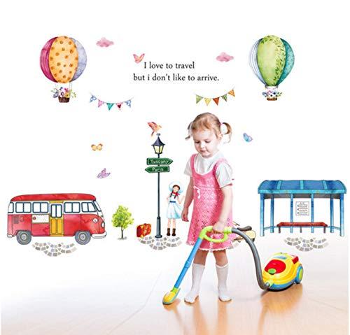 artoon Heißluft Ballon Straße Blick Große Schmetterling Blume Für Kinder Zimmer Schlafzimmer Dekor DIY Kunst Aufkleber Abnehmbar 100x150cm ()