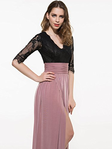 CLOCOLOR La Robe longue pour Femme V col moitié manches chemisier patchwork couleur cheville Rose