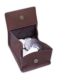 Teemzone hombre cuero genuino Squeeze Especie bolsa moneda mini bolsillo Monedero