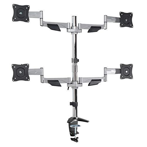 "RICOO Universal Monitor Multimonitor Stand TS5011 Halterung 4 Bildschirme Schwenkbar Neigbar Tischhalterung LCD LED TFT Curved Bildschirmhalterung VESA 75x75 100x100 33-69cm 13""-27"" Silber Grau"