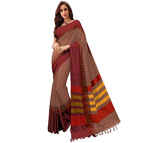 SP AURA Women's Cotton Kota Blend Saree (Khushika. Genuine Aura Product) (Brown)