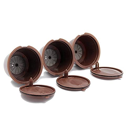 TTrees 3Pcs Refillable Nescafe Reusable Refill Capsule Eco-Friendly Single Coffee Filters Pods Compatible with Nescafe Dolce Gusto
