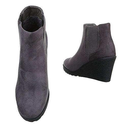 Damen Boots Schuhe Wedges Keil Stiefeletten Schwarz Grau 36 37 38 39 40 41 Grau
