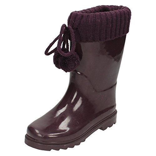 Spot On Girls Knitted Collar Wellington Boots