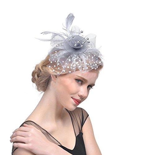 Fascinator Hüte mit Feder Blumen Haar Clip Haarreif Haar Accessoire Netz-Mütze Schleier Cocktail Tea Party Hochzeit Kirche Haarschmuck Kopfschmuck Kopfbedeckung für Mädchen und Frauen - Braut Der Mutter Hüte
