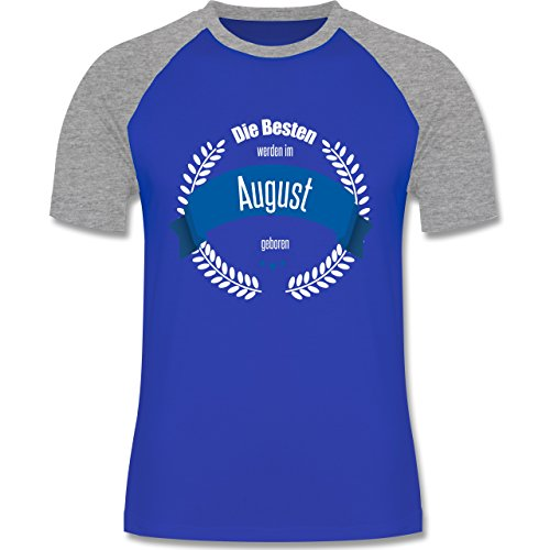 Shirtracer Geburtstag - Die Besten Werden IM August Geboren - Herren Baseball Shirt Royalblau/Grau meliert