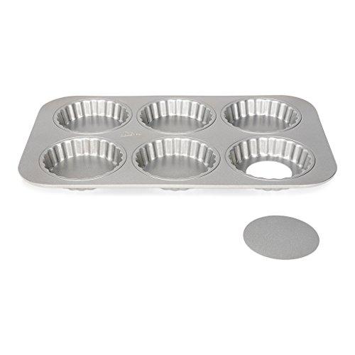 Patisse 6 Mini Quicheformen / 6 Mini Torteletts als Backblech mit losem Boden für leckere Mini Quiches & Tartes, Silver-Top Mini-quiche