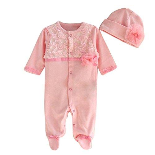 Longra Bébé Filles Princesse Romper+Chapeau (3-6M, Rose) Longra Baby Dress