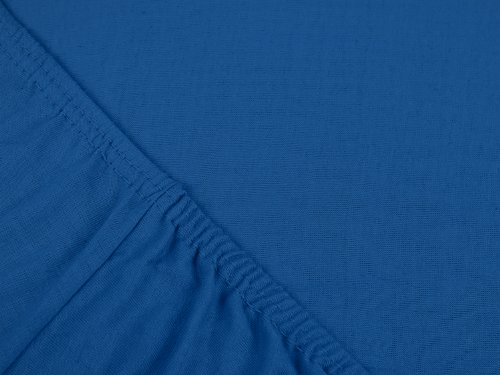 npluseins klassisches Jersey Spannbetttuch - erhältlich in 34 modernen Farben und 6 verschiedenen Größen - 100% Baumwolle, 90-100 x 200 cm, royalblau - 4