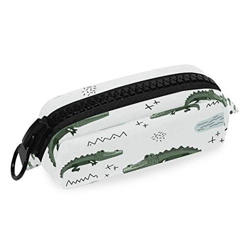 Aniaml Krokodil-Muster Federmäppchen Stifteetui mit großem Reißverschluss aus Segeltuch für Teenager, Mädchen, Jungen, Schule, Studenten, Schreibwaren
