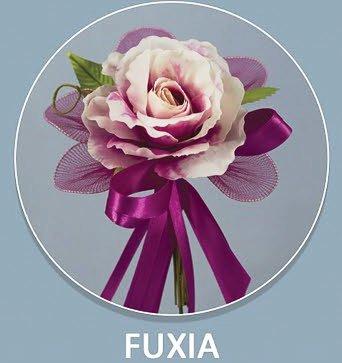Confezione 12 pezzi, bomboniera fiore bouquet con racchette, segnaposto, confettata, nascita, battesimo, matrimonio, comunione, laurea (ck6167) (fuxia)