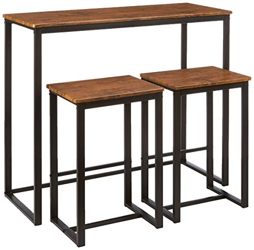 Kit Closet Set de Mesa + 2 taburetes Altos Conjuntos, Madera, Negro/Marrón