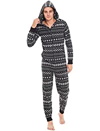 Slumber Hut® Mens Fleece Hooded Onesie Fair Isle Aztec Winter Pattern -  Novelty Hooded All 1261ac820